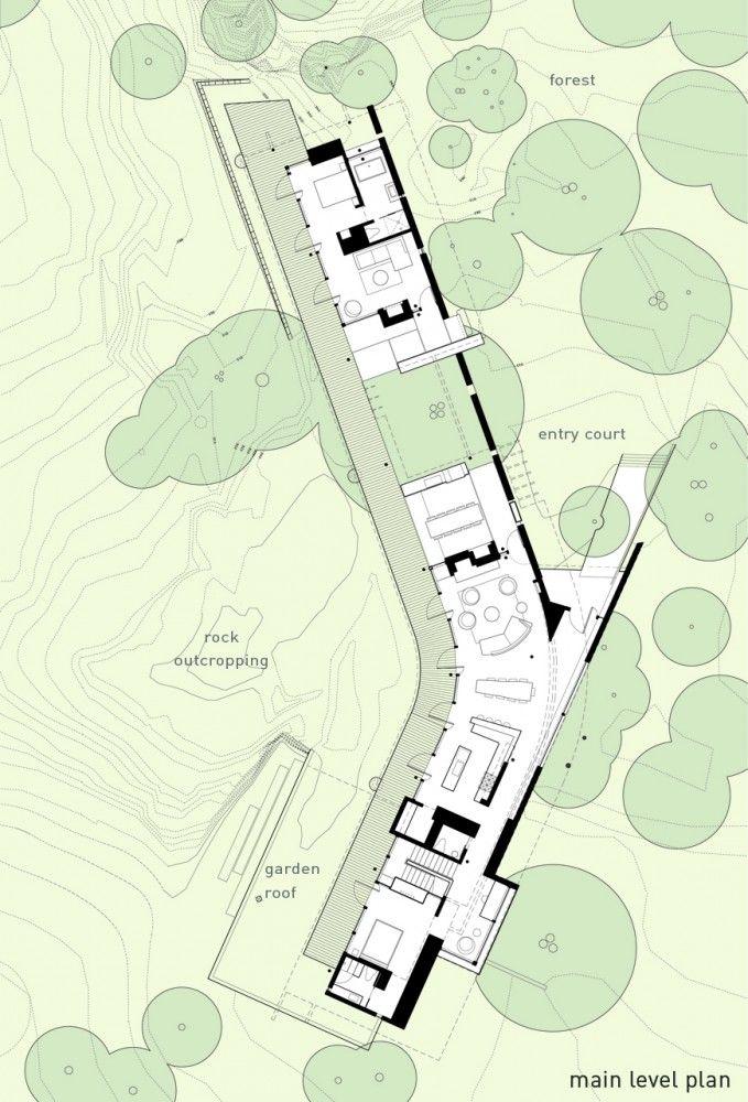 Floor plan. Suncrest Residence, by Heliotrope Architects. Orcas Island, Washington.