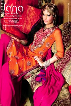 pink and orange, sana designer wear