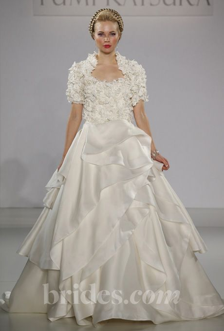 """Brides.com: . """"Kyoto"""" strapless silk ball gown wedding dress with a crystal encrusted Guipiure lace bodice and layered skirt, paired with a matching short-sleeve bolero, Yumi Katsura  See more wedding dresses in our gallery."""