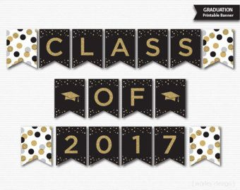 Chalkboard Graduation Banner Printable Graduation Decorations