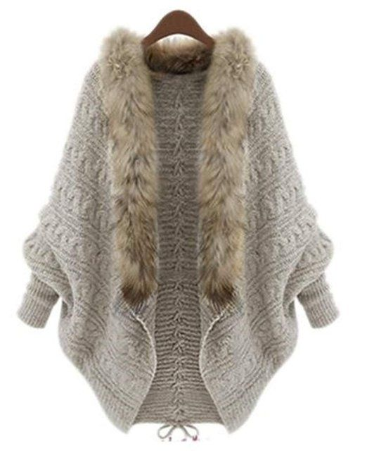 Faux Fur pelzkragen losse Flügel Cape Mantel Jacke stricken Strickjacke Pullover