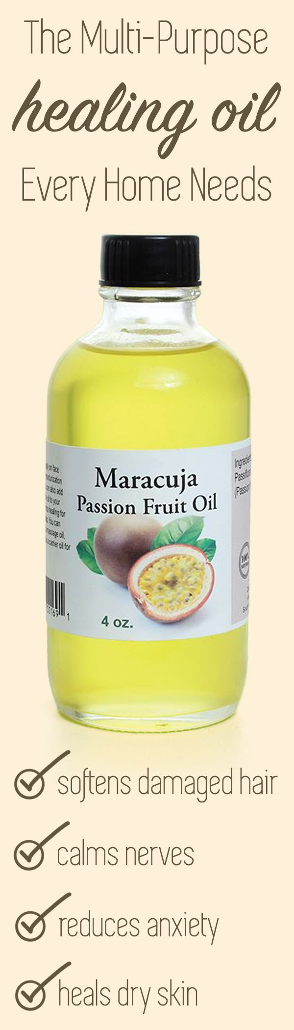 The Multi-Purpose healing oil that every home needs!  Maracuja Passion Fruit Oil is perfect for physical ailments like healing dry skin and softening damaged hair, but it also acts as an aroma therapy, helping to calm nerves and reduce anxiety.  This multi-purpose natural oil is perfect for keeping in the medicine cabinet as a natural remedy for many uses safe for kids and adults.  #naturalremedy #naturalremedies #heal #natural #nontoxic #healthy #haircare #naturalhaircare #naturalhair