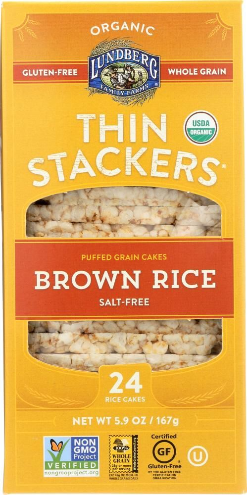 LUNDBERG: Rice Cakes Thin Stackers Brown Rice Salt-Free, 5.9 oz