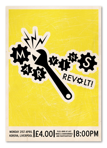 Marvins Revolt. Poster design by Paul Williams, Sheffield.