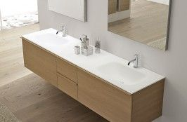 SEGNO Top with integrated sink in Corian with drain pipe fitting and plug. Single or double sink versions.