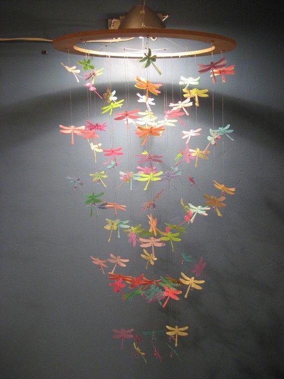 Dragonfly Paper Chandelier/MobileMEDIUM by kismetsunday on Etsy, $108.00
