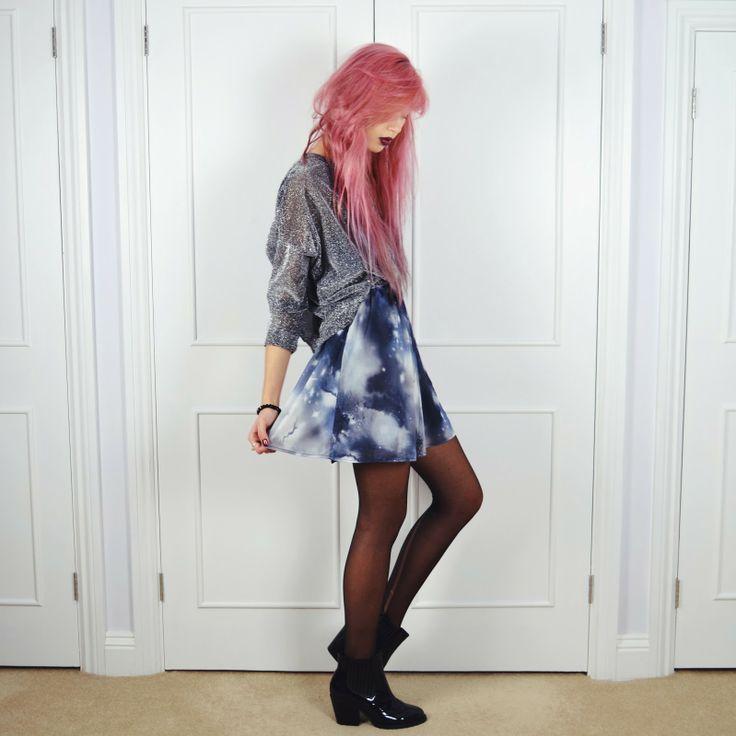 Amy Valentine in our galaxy dress <3 www.amyvalentine.com via www.ark.co.uk  #amyvalentine #blogger #style #grunge #pink #hair