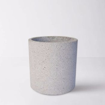 Zakkia Large Grey Concrete Planter: A large grey concrete planter which has a multitude of uses.  This large grey concrete planter looks equally at home in the kitchen, bathroom, bedroom or living area. As well as being a stylish way to display a plant or flowers it can also be used for storing kitchen utensils or cutlery on a kitchen bench top or pens and pencils in the office.  Concrete home accessories have a cool, clean raw appeal. This planter is no exception and is part of a range of…