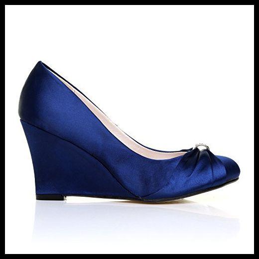 EDEN Women's Satin Wedge High Heel Navy Court Shoes Size 9