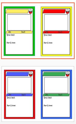 Here's the Pokemon trading card template I mentioned in my last post (2 to-a-page)... just write (or type) a student's name at the top, cut ...