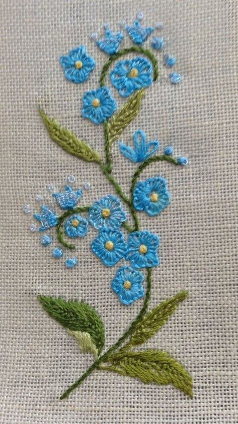 Beautiful flowers with button-hole stitch (?)