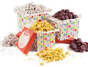 Happy Holidays, Ho Ho Ho! Gourmet Christmas Gift Tower, Filled with Buttery Caramel Popcorn, Sugar Plums and Frosted Sprinkled Christmas Tree Pretzels, A Classic Holiday Gift Basket For Men And Women and Kids of All Ages, Cheer & Joy, By Pistachio Gifts®
