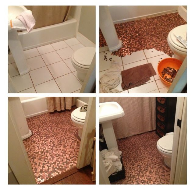 Completed my own penny floor! About $1.50 a square foot. Glued directly to the floor then grouted.