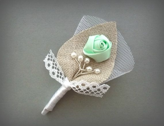 Mint and White Twigs Wedding Men Accessories, Groom's Lace Boutonniere Pin, Linen Groomsman, Mint Green Country Weddings, Burlap Shabby Chic $10.00 www.groomscorner.etsy.com