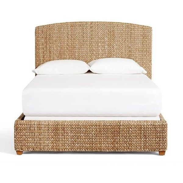 Pottery Barn Seagrass Bed & Headboard ($399) ❤ liked on Polyvore featuring home, furniture, beds, handmade headboards, king headboard, king head board, seagrass headboard and king size head board