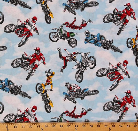 Cotton Motocross Racing Motorcycles Dirt Bikes Bikers Sports Cotton Fabric Print by the Yard (GM-C1592 Sky) D668.36