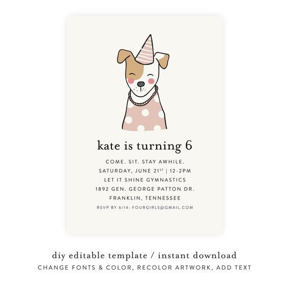 Instant Design and Unlimited Downloads Funny Dog Greeting Card Printable Template