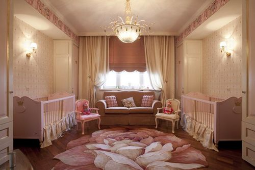 Baby twin girls room dream little girl room - Cortinas vintage dormitorio ...