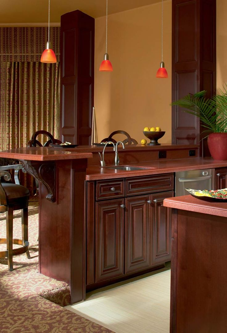 Waypoint living spaces style 720 in cherry bordeaux for Cherry bordeaux kitchen cabinets