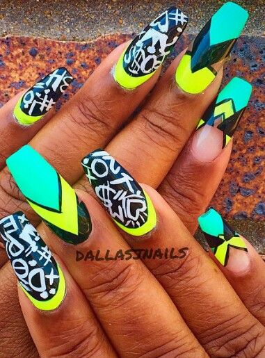 Graffiti abstract neon turquoise blue nails design nail art @dallasalexiaxo