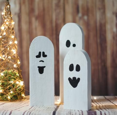 3 reclaimed wood halloween ghosts rustic halloween decor primitive ghost gft woodcraft - Rustic Halloween Decorations