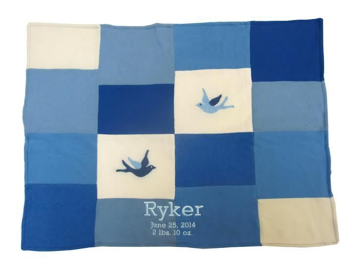 Namely Newborns - Cashmere Baby Blanket - Handcrafted Patchwork Blue  Bird, $190.00 (https://www.namelynewborns.com/cashmere-baby-blanket-handcrafted-patchwork-blue-bird/)