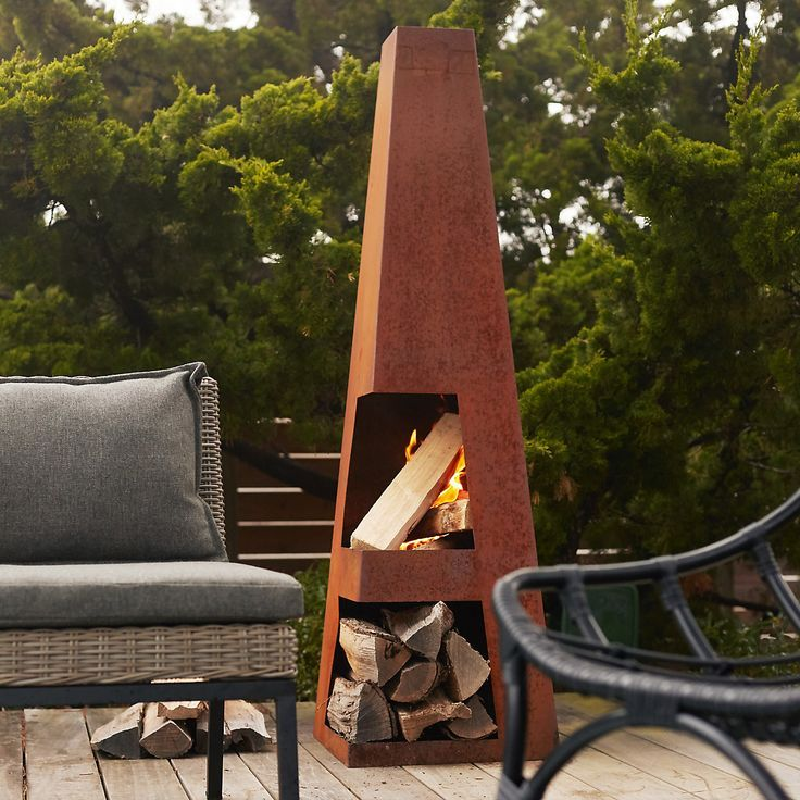 Weathering Steel Obelisk Chiminea Outdoor fire, Chiminea