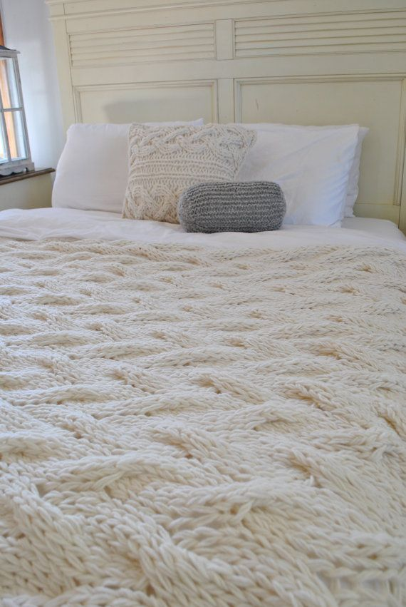 Chunky Cable Knit Blanket in Cream Irish Wool by CampKitschyKnits