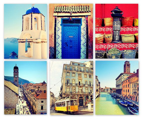 Set of 6 photos from Italy, Morocco, Croatia, Portugal, and Greece.