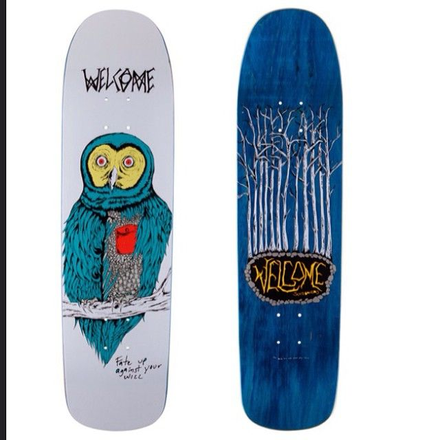 """""""Choose this owl to be your familiar, and increase your power ten-fold!"""" Welcome skateboards Fate Owl on Eclipse. (8.25 x 31.875. Rides like 8.25 Popsicle stick. Recommended truck size: 139, 149. #welcomeskateboards"""