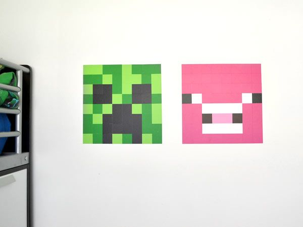 Here's a DIY tutorial that will make any Minecraft lover very happy. Use Bright Star Kid's Diamond Wall Decals to make Minecraft designs on your walls.