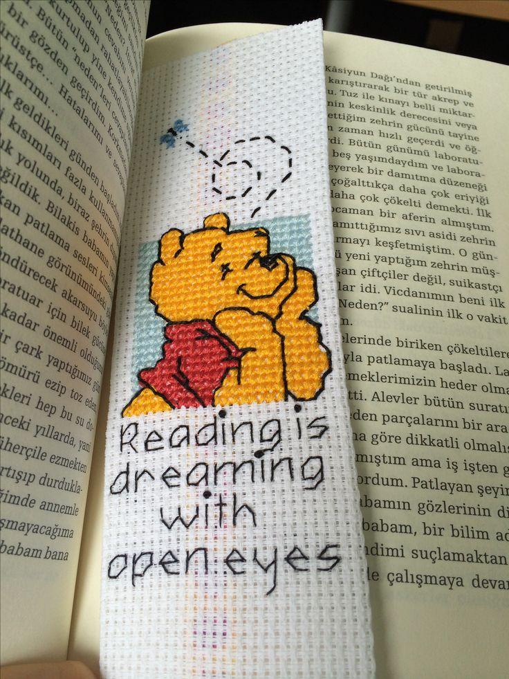 Winnie pooh bookmark kitap ayracı kanaviçe cross stitch