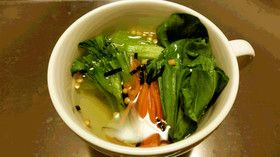 ベジ♪お茶漬けの素で簡単チンゲン菜スープ