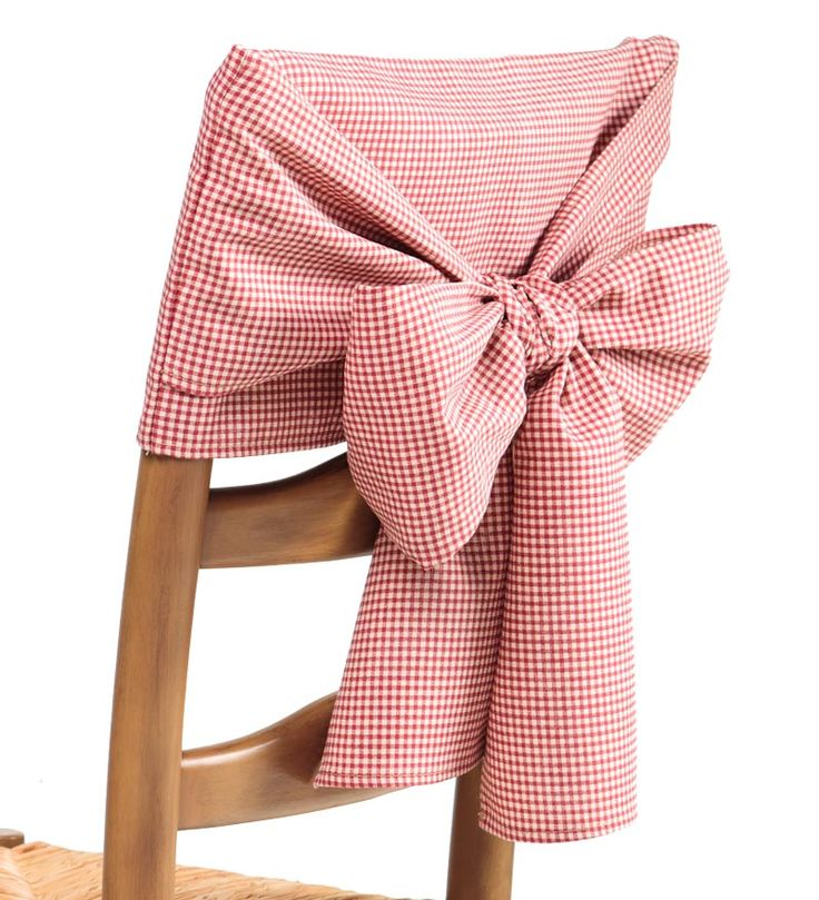 Cotton Gingham Check  Solid Chair Bows