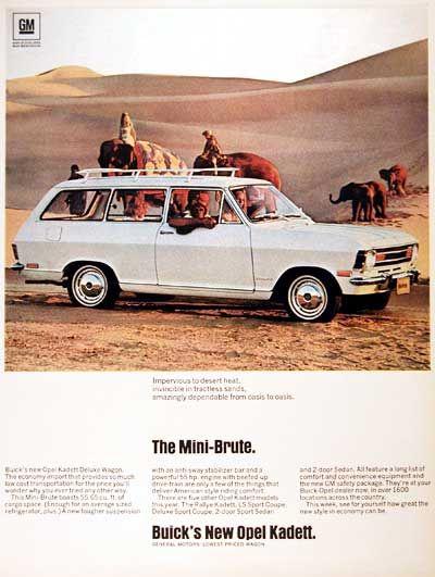 "1968 Buick Opel Kadett Station Wagon original vintage advertisement. Photographed in vivid color. ""General Motors' lowest priced wagon."""