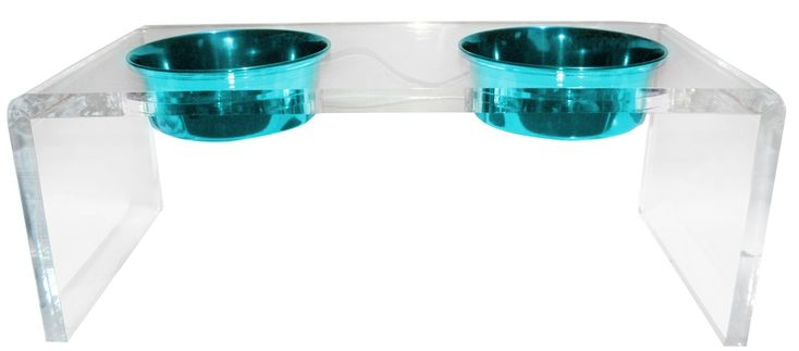 Platinum Pets 5 Star Modern Solid Acrylic Cat Feeder with 2 Extra Heavy 1-Pint Teal Bowls