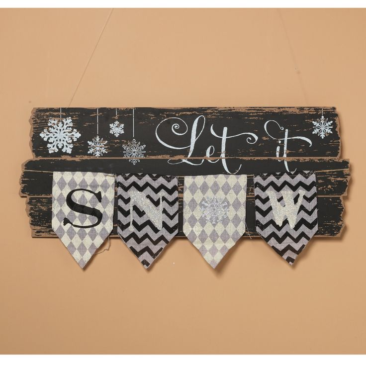 Gerson 31.75 in. Wood Let it Snow Wall Decor with Burlap Pennant - 2225630