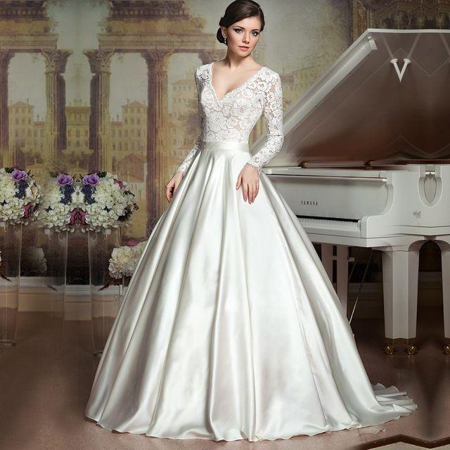 Vintage romantique longue robe de mariage 2016 nouvelle à manches longues v cou dentelle satin femmes robes de mariée pour la fête de mariage robe noiva