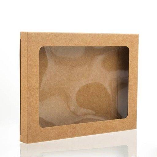 Kraft Papier Vensterdoos met bijgesloten PET Vel 8,9 x 1,4 x 13,8cm (25 Stuks)…