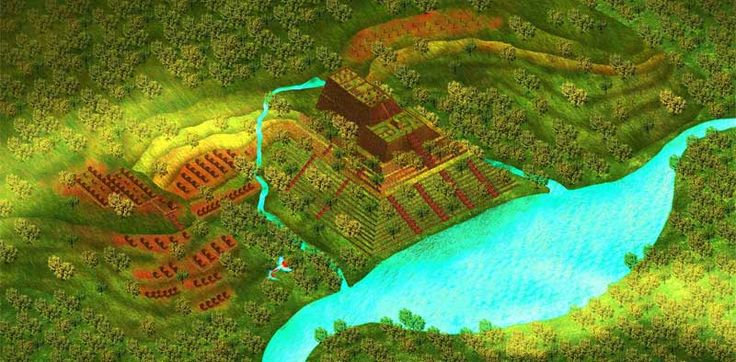 Artist's impression of Gunung Padang as it would have looked in antiquity by and courtesy of architect Pon S Purajatnika. ©