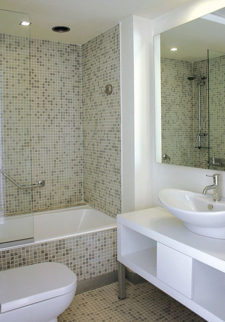Bathroom. Breathtaking Renovation Ideas For Small Bathroom In Pictures. Appealing Bathtub Shower With Mosaic Tiles Combine Cleanly White Vessel Sink And Single Handle Faucet With Mirror Also Toilet Ideas In Renovation Ideas For Small Bathroom