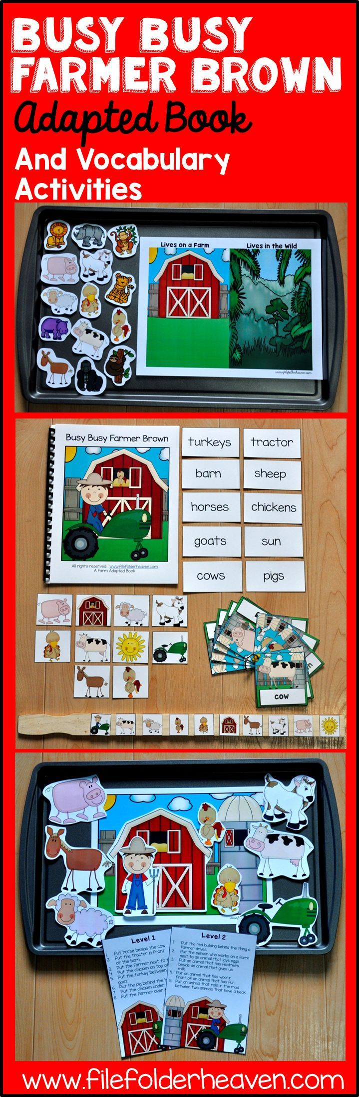 """""""Busy Busy Farmer Brown  drives his tractor round and round!"""" This unit has been updated! It now includes an updated adapted book and 4 new vocabulary extension activities that focus on sequencing, classification, labeling, and positional concepts!"""