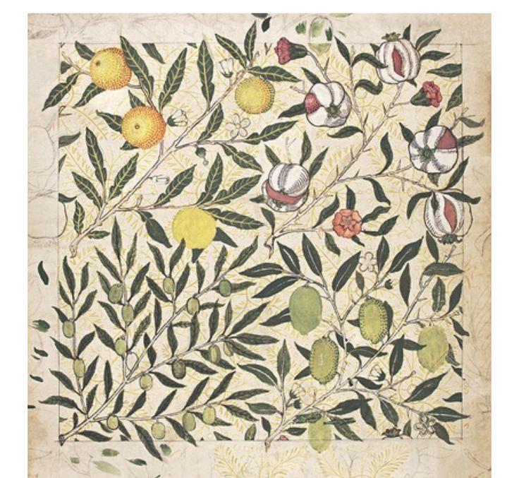 Архивный образец обоев с изображением гранатов, лимонов и оливок, 1862 год. Этот узор лег в основу знаменитых обоев Fruit