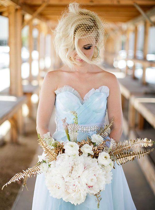 Modern Pale Blue Wedding Dress | Jasmine Star Photography | See More! http://heyweddinglady.com/fab-bridal-alternatives-white-wedding-dress/