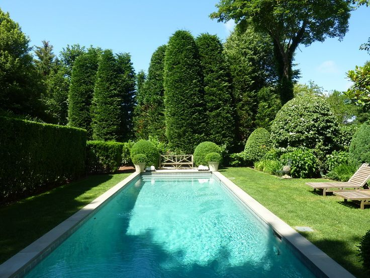 Rectangular pool with boxwoods the proportions of the for Swimming pools for your garden