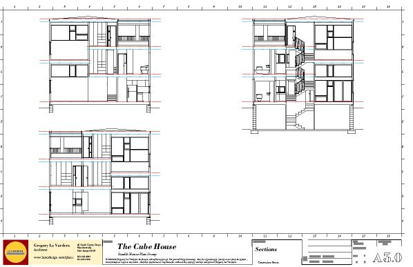 Modern House Plans By Gregory La Vardera Architect 0380 Cube House Section Sheet Modern House Plans House House Plans