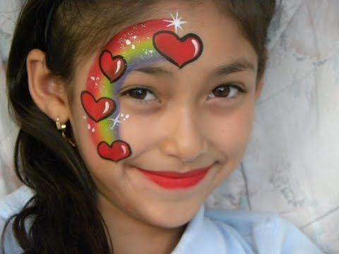 PINTACARITAS DE ARCOIRIS CON CORAZONES, FACE PAINTING RAINBOW HEARTS - YouTube