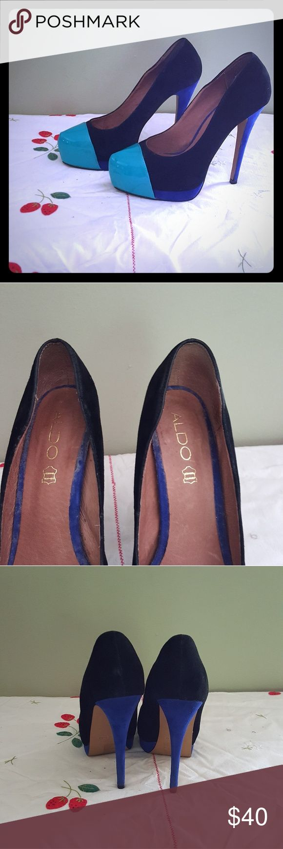 """Aldo ABRIANNNA Heels Beautiful multi color suede heels with patent leather toe. Shoe has a turquoise tip, black suede base and navy heel. Shoe size is 7 with a 5"""" heel. Condition of shoe is excellent with no damage. Aldo Shoes Heels"""