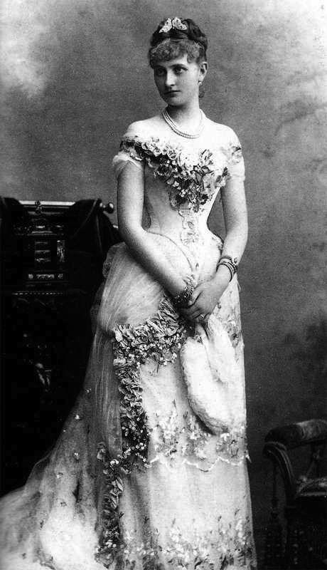 Austria.  Archduchess Maria Josepha , 1889-90 (decolored). Maria Josefa wears a late bustle era dress with an off shoulder vee neckline and vee waistline.