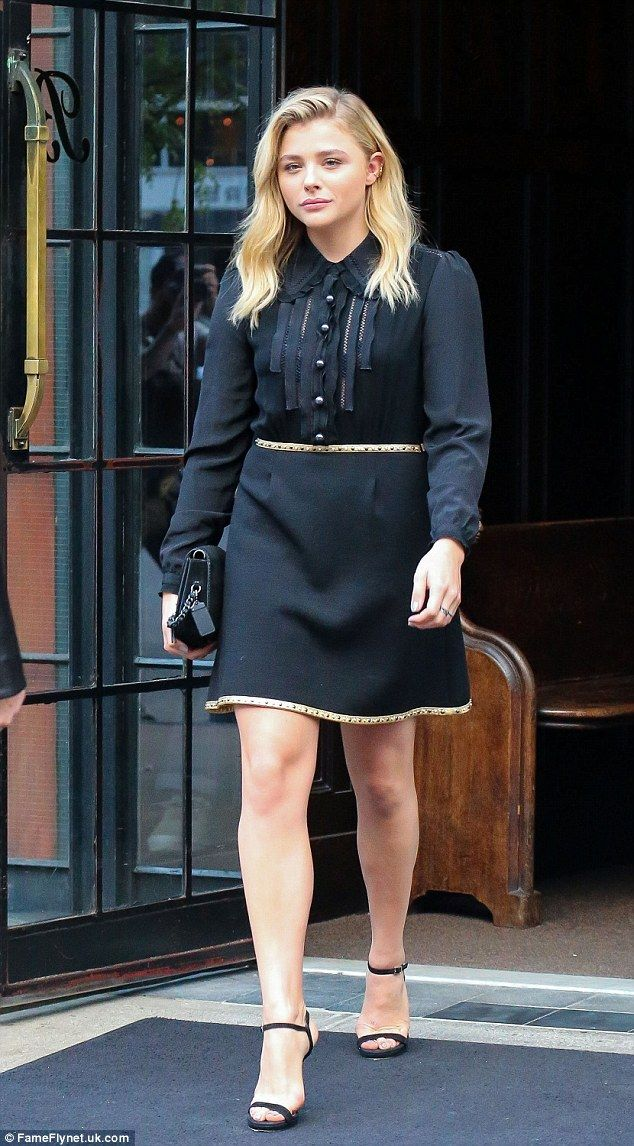 Chloe Moretz looks leggy in a chic LBD as she leaves NYC hotel | Daily Mail Online